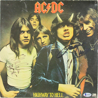 AC/DC Angus & Malcom Young Signed Highway To Hell Album Cover w Vinyl BAS A11511