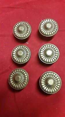 Vintage Antique Lot Of 6 Ornate Brass Drawer Pulls Door Knobs