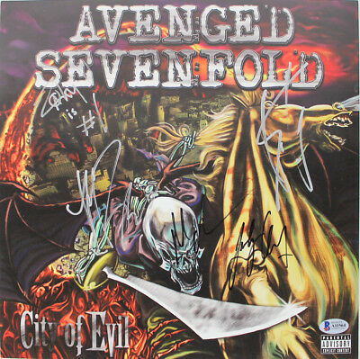 Avenged Sevenfold (5) Authentic Signed City Of Evil Album Flat BAS #A11564