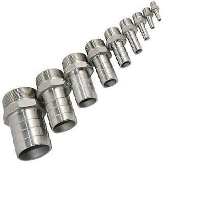 """1/2""""Male Thread Pipe Fitting x10mm Barb Hose Tail Connector Stainless Steel  NPT"""