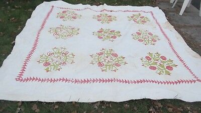 Fancy LG. 1890 ANTIQUE Applique Quilt, GREAT QUILTING, Wedding, Marriage, Crafts