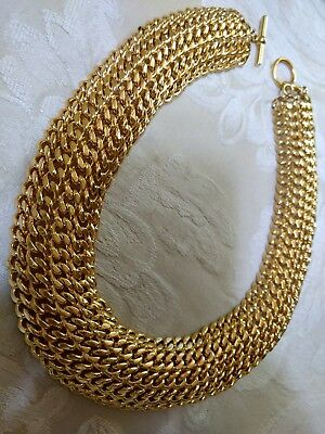 Fancy Wide Sexy Gold Electroplate Chain Link Retro Choker Necklace Toggle Clasp
