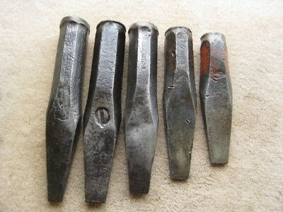 5 x ASSORTED SIZE W. H.  PLUMB ROCK GADS or STONE MASON'S TOOLS Aust Made.
