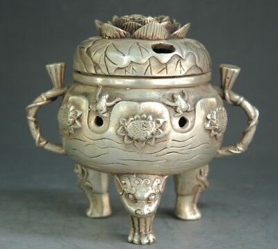 China old copper plating silver  hand engraving lotus flower frog censer e02