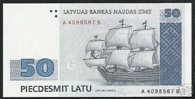 Latvia 50 Latu P46 1992 Euro Sailing Ship Key Cross Unc Currency Money Bill Note