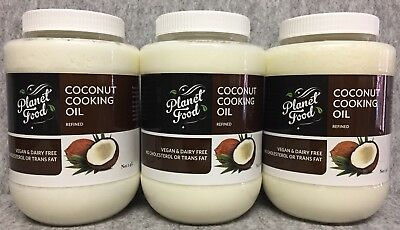 4.2lt Coconut Oil (3x1.4lt) Refined Pure Natural Cooking Baking Frying Vegan