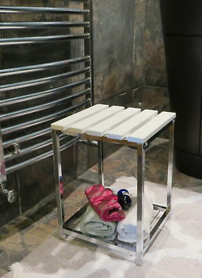 Wooden Bathroom Stool/Dressing Stool-White Wooden Top & Chrome Base-WST06W