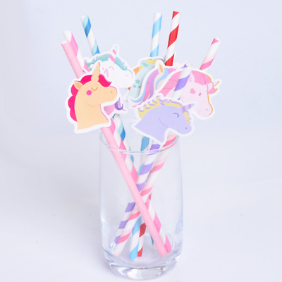 10 pcs Disposable Unicorn Paper Drinking Straw Wedding Birthday Party Decoration