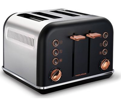 #MORPHY RICHARDS Accents 242104 4-Slice Toaster - Black & Rose Gold*