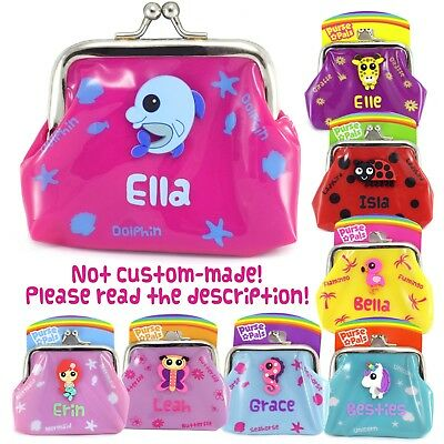 Girls Small Personalised Name Kids Animal Character Plastic Coin Purse Unicorn