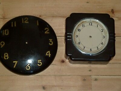 Two vintage bakelite wall clock cases for spares - both damaged