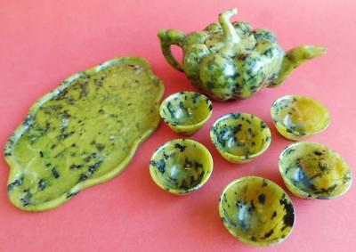 Superb Antique Moss Jade Chinese Tea Set Teapot Tray & Cups. 1900s