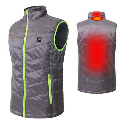 Mens Winter Heated Battery Sleeveless Vest Jacket Heating Wind Warm Coat XL XXL