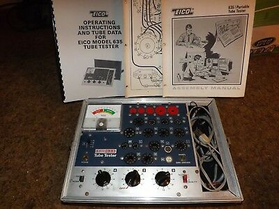 EICO MODEL 635 TUBE TESTER w/ INSTRUCTIONS and TEST DATA - NEEDS WORK