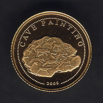Mongolia. 2008 Gold 500 Togrog.  Cave Paintings..  0.5gram  .999 gold.. Proof