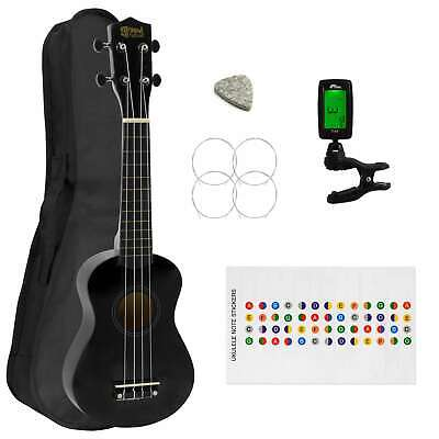 Soprano Ukulele for Beginners in Black with Uke Bag & Tuner