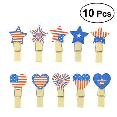 10pcs Patriotic Photo Clip Note Postcard Craft Decoration Arts Decoration Holder