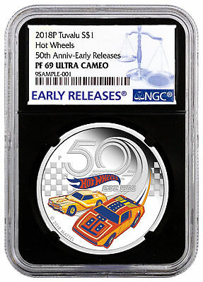 2018-P Tuvalu Hot Wheels 50th 1 oz Silver NGC PF69 UC ER Black Label SKU53635
