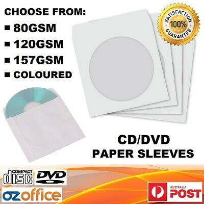 BULK BUY CD DVD Paper Sleeve White Envelope w/ Clear Window High Quality GSM