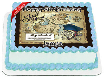 Pirate Treasure Map Edible Icing Image Personalised Birthday Party Cake Topper