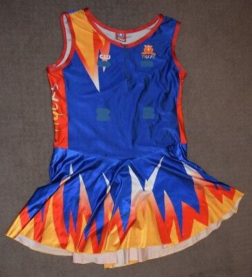 Netball Bodysuit Dress, Size 26, Blue, Red and Yellow, Tigers
