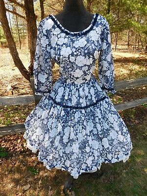 Vintage Navy Floral Classic Square Dance Dress Small S Hand Made DeLoris