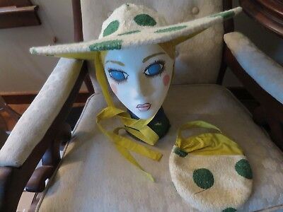 Vintage 40's 50's Floppy POLKA-DOT Beach Wide folding travel Hat! Rare