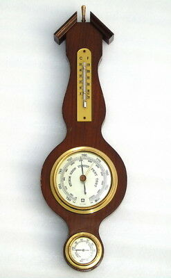 Vintage Huger West Germany Ships Aneroid Marine Wooden Thermo Hygro Barometer