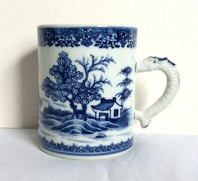 SUPERB 18thC QIANLONG 1736-1795 CHINESE BLUE AND WHITE DRAGON HANDLE TANKARD