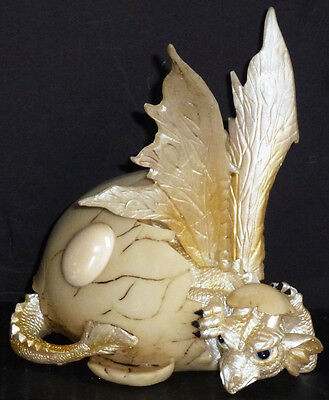 """OPAL  OCTOBER     Birthstone Dragon in Egg Shell    4.87""""   Figure Statue"""