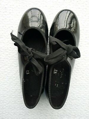 toddler girl's ABT black patent tie tap shoes size 11 EUC