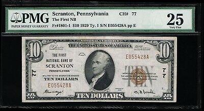 Affordable Genuine Fr #1801-1 Ch# 77 Scranton Pa Pmg Vf 25 National Currency