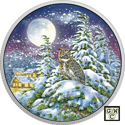 2017Great Horned Owl-Animals in the Moonlight' Color Prf $30 .9999Silver (18259)