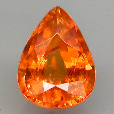 1.26 ct. PEAR CUT 7.4x5.6 MM. 100%NATURAL TOP FANTA ORANGE SPESSARTINE GARNET