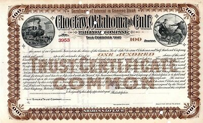 Choctaw Oklahoma and Gulf Railroad Company ca 1890 unissued Stock Certificate