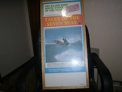 VINTAGE 1980s MARK RICHARDS SURFING MOVIE POSTER TALES OF THE SEVEN SEAS FRAMED
