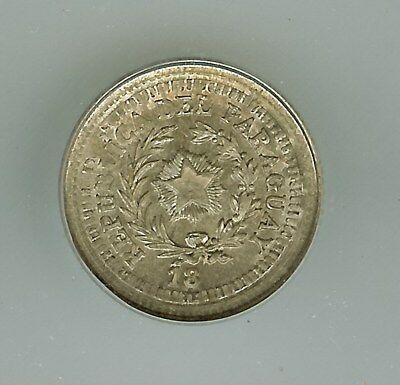 PARAGUAY 18XX SILVER 5 CENTS ON ARGENTINA 10c KM#26 -PATTERN DIE- ICG MS65 RARE!