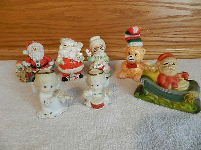 Lot of 7 Mixed Holiday Porcelain Figurines Santa Salt & Pepper Shakers Angels