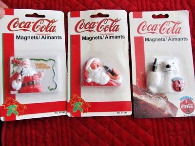 Lot of 3 Vintage Coca-Cola COKE Memo Holders Refrigerator Magnets ~ Santa & Bear
