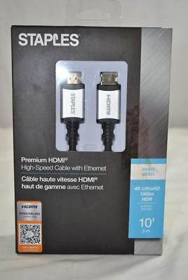 Brand New Staples Premium HDMI Cable With Ethernet 51758 - 718103283793