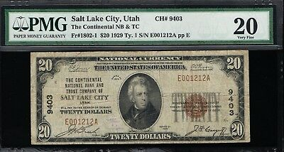 Affordable Genuine Fr #1802-1 Ch #9403 Salt Lake  City Pmg 15 National Currency