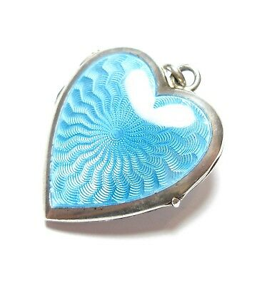 BEAUTIFUL VINTAGE 1920's SILVER & ENAMEL LOVE HEART SHAPED PHOTO LOCKET (A10)
