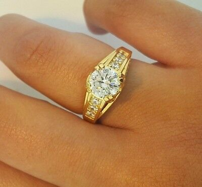 2 Ct Round Cut Engagement Ring Bridal Wedding Solid 14K Yellow Gold