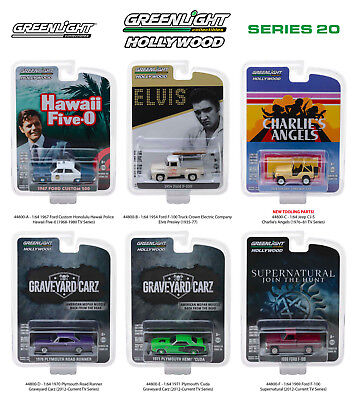 Hollywood Series / Release 20, Set Of 6 Cars 1/64 Diecast By Greenlight 44800