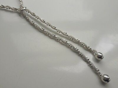 Long Hallmarked London Solid Sterling Silver Twist Chain Drop Pendant Necklace