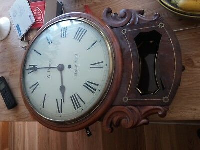19thC drop dial single fusee wall clock