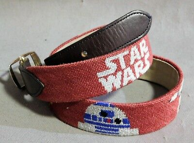 Star Wars Needle Point Brown Leather Belt 32 In. Vader R2D2 C3Po Storm Trooper