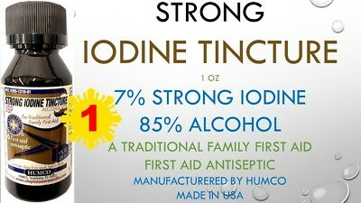 HUMCO 7% STRONG IODINE TINCTURE 1oz THE TRADITIONAL FAMILY FIRST AID ANTISEPTIC