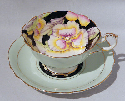 Rare Vintage PARAGON PANSY on Black CUP & SAUCER Hand Painted c1938-1952