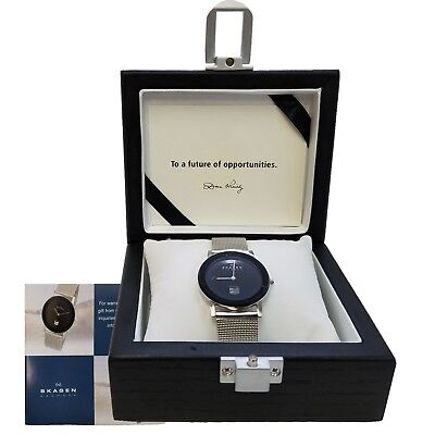 "New SKAGEN Ultra Slim BLACK FACED Watch, Wooden Box Case""without battery"" OEM"